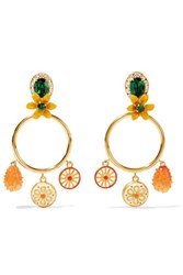 Dolce And Gabbana Gold Tone Crystal Resin Clip Earrings One Size
