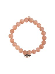 Sydney Evan 14Kt Rose Gold Diamond Evil Eye Charm Bracelet Pink