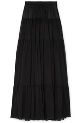 Saint Laurent Tiered Silk Chiffon Maxi Skirt Black