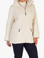 Chesca Cable Embroidered Quilted Coat Cream