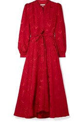 Co Belted Satin Jacquard Midi Dress Red