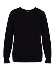 Berluti Wool Silk And Cashmere Blend Ribbed Sweater Navy