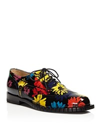 Moschino Floral Print Lace Up Oxfords Black