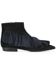 J.W.Anderson Ruffled Ankle Boots Black