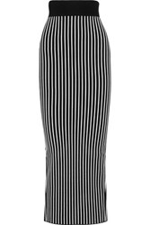 Christopher Kane Stripes And Flowers Stretch Jersey Maxi Skirt Black