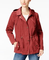 Charter Club Petite Water Resistant Hooded Utility Jacket Only At Macy's New Coral
