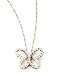 18K White Gold Diamond Butterfly Pendant Necklace Roberto Coin