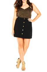 City Chic Plus Size Women's 'Button Up' Stretch Denim Skirt