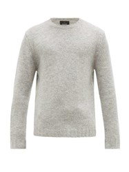 Allude Round Neck Knitted Sweater Light Grey