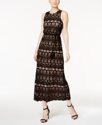 Jessica Howard Open Back Lace Maxi Dress Black Nude