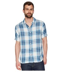 True Grit Surf Checks Double Light Gauze Stitch Detail And Vintage Washed Short Sleeve One Pocket Shirt Blue Short Sleeve Button Up