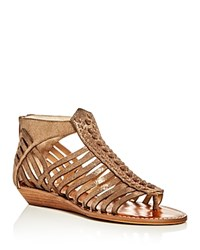 Vince Camuto Seanna Metallic Woven Strappy Demi Wedge Sandals Bronze