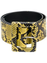 Orciani Square Buckle Belt Python Skin Yellow Orange