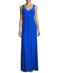 La Femme Criss Cross Front Jersey Gown Electric Blue