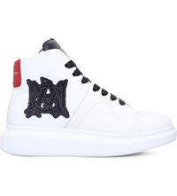Alexander Mcqueen Monkey Monogram Wedge Leather High Top Trainers White