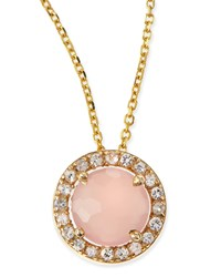6Mm Rose Quartz And White Sapphire Pendant Necklace Kalan By Suzanne Kalan Pink