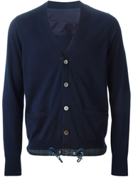 Sacai Luck Drawstring Hem Cardigan Blue