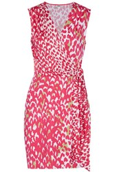 Issa Bobbi Printed Silk Blend Jersey Mini Dress Pink
