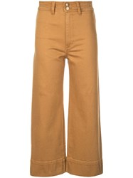 Apiece Apart Cropped Straight Cut Trousers Orange