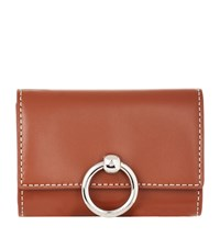 Claudie Pierlot Leather Saddle Stitch Coin Purse Brown