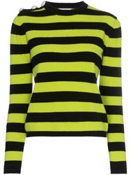 Ganni Crystal Button Striped Sweater Black