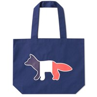 Maison Kitsune Tricolour Fox Tote Bag Blue