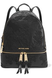 Michael Michael Kors Rhea Embroidered Leather Backpack Black