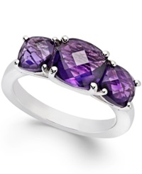 Macy's Amethyst Three Stone Ring In Sterling Silver 4 Ct. T.W.