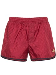 Gucci Red Gg Monogram Swimshorts