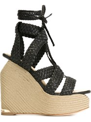 Paloma Barcelo Woven Wedge Sandals Black
