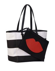 Kendall Kylie Striped Leather Trimmed Tote Black White