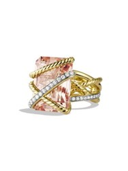 David Yurman Cable Wrap Ring With Morganite And Diamonds In Gold Gold Morganite