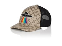 Gucci Men's Ufo Embroidered Gg Supreme Baseball Cap Beige Dark Brown Tan