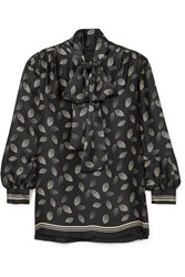Anna Sui Pussy Bow Printed Silk Charmeuse Blouse Black