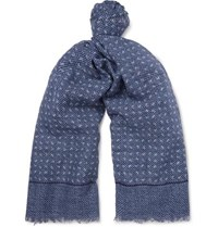 Isaia Fringed Printed Cotton And Linen Blend Scarf Blue