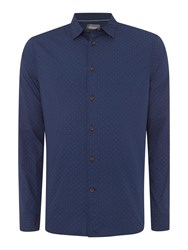 Linea Walker Long Sleeve Geo Print Shirt Blue