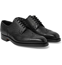 George Cleverley Henry Pebble Grain Leather Wingtip Brogues Black