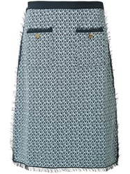 Thom Browne Tweed Pencil Skirt Blue