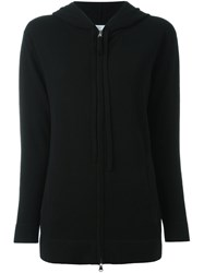 Allude Zipped Hooded Cardigan Black