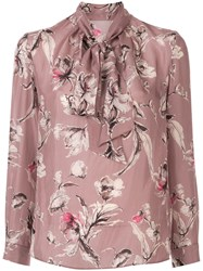 Tomorrowland Floral Print Pussy Bow Blouse Pink