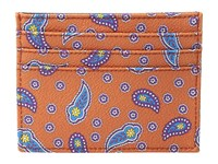 Etro Floating Paisley Card Case Orange Credit Card Wallet