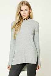 Forever 21 High Low Fleece Tunic Heather Grey