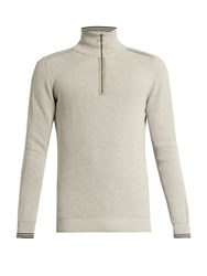 Lanvin Zip Front Cotton And Wool Blend Sweater Light Grey