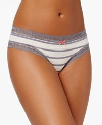 By Jennifer Moore Cotton Cheeky Lace Trim Hipster Only At Macy's Oatmeal Stripe