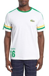 Lacoste Men's 'Sprinter Victory' Print T Shirt White Chlorophyll Wasp