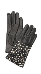 Diane Von Furstenberg Studded Leather Gloves Black