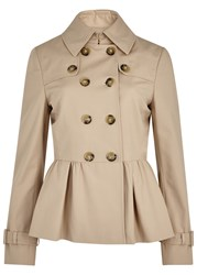 Boutique Moschino Sand Cropped Trench Coat Beige