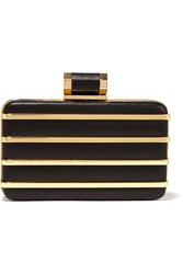 Halston Striped Gold Tone And Leather Box Clutch Black