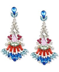 Macy's M. Haskell Silver Tone Multi Colored Faceted Stone Chandelier Earrings