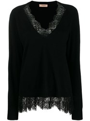Twin Set Lace Trim Knitted Top Black